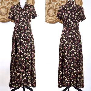 Banana Republic floral wrap short sleeve maxi